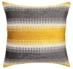 """The Zinc Skyline throw pillow's bold design expresses contemporary panache. Channeling globally-inspired style, this plush rectangular accessory features shimmering yellow and pewter gray wavy stripes. Available in several sizes; Rayon/polyester; Knife edge; Zipper closure; Feather down insert included; Spot clean only; Made in the USA; 24""""W x 12""""H; 20""""W x 20""""H; 22""""W x 22""""H; 24""""W x 24""""H; 26""""W x 26""""H"""