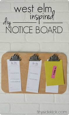 DIY Notice Board {West Elm Knock Off} ~ Get all those papers off the counter and up where you can actually see them! I love the idea of designating a clip to each child for important school papers.