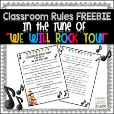 """Classroom Rules Freebie!These fun and engaging classroom rules are sung to the tune of """"We Will Rock You!"""" This freebie contains the song lyrics with the following 6 rules:-Listen up when you teacher is talking-Respect all students-Raise your hand if you need to leave your seat-Always try your best and don't give up!-Use your best manners -Follow directions Enjoy!"""