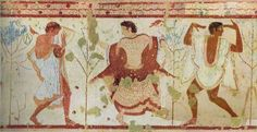 Dancing Woman and Lyre Player; a scene from a wall painting at the Tomb of the Triclinium in Tarquinia; c. 470-460 BC;