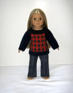 Molly's meet sweater - free knit pattern for american girl dolls