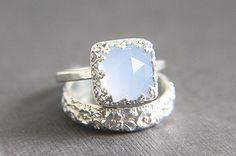 Vintage Style Chalcedony Wedding Ring Set - Eco Friendly Engraved Wedding Band & Engagement Ring - Alternative Diamond on Etsy, $165.00