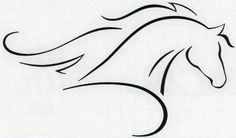 Line Art Arabian or Morgan Horse with Flowing Mane Decal-...