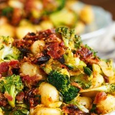 If you have 25 minutes then have enough time to make this quick weeknight dinner entree of bacon gnocchi with broccoli and shaved brussels!
