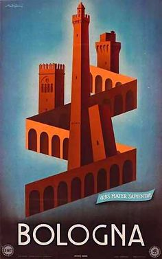 Bologna | Vintage travel poster | European travel #Posters #Italy