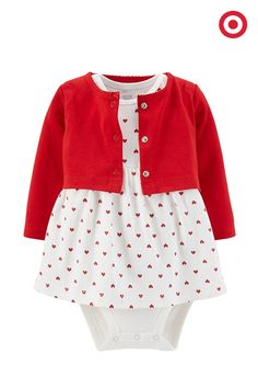 Your baby girl will steal everyone's heart this Valentine's Day when she wears this sweet, heart-print bodysuit dress and red cardigan set from Just One You made by Carter's.