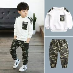 Clothing set for children from 2 to 13 years old sets for be - Conjunto de ro Outfits Niños, Baby Boy Outfits, Sport Outfits, Kids Outfits, Cute Kids Fashion, Baby Boy Fashion, Kids Army, Kids Clothes Boys, Baby Pants