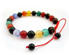 8mm Multi-color Agate Beads Wrist Mala Bracelet for Meditation Ovalbuy. $4.99. Adjustable and fit all size of wrist. Free Jewelry Pouch. Material: agate. Beads Size: about 8mm