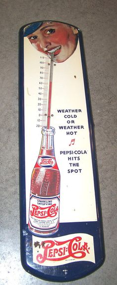 Large 1932 Pepsi Cola Double Dot Thermometer Woman Sipping Straw Never Outside | eBay