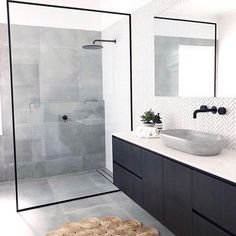 Bathroom inspiration by . Loving the black framed shower screen, contrast of tiles and concrete basin. Bathroom inspiration by . Loving the black framed shower screen, contrast of tiles and concrete basin. Laundry In Bathroom, Bathroom Renos, Bathroom Renovations, Bathroom Ideas, Bathroom Organization, Remodel Bathroom, Master Bathrooms, Bathroom Cabinets, Marble Bathrooms