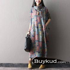 Women Autumn And Winter High-necked Long Woolen Dress