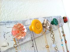 Bright Colors Jewelry Organizer / Wall Mounted by sweetsadiek, $36.50