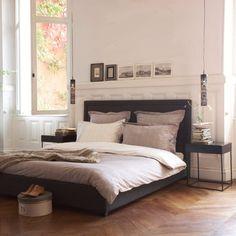 Upholstered Headboard, Striped Duvet & Paneled Walls