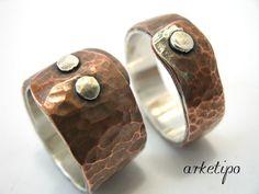 Personalizada plata y vendas de boda de cobre... por Arketipo, €168.00