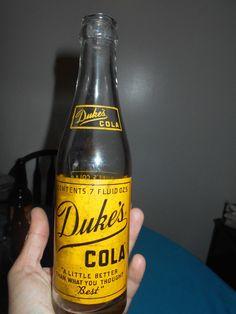 """1946 Duke's 7 Ounce Cola Soda Bottle, #3 RR W/""""N"""" In Square On Bottom-Kansas, Mo"""