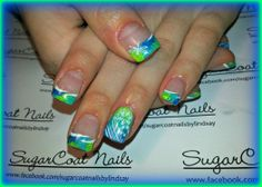 blue and green tie dye nails with dragon fly and flower stamps -- SugarCoat Nails