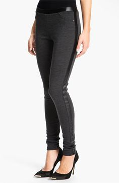 ABSOLUTELY LOVE THESE! Trouvé Faux Leather Tux Trim Leggings available at #Nordstrom