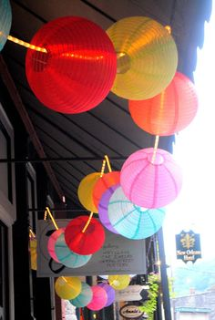 Light up lanterns with rope lighting for a creative twist on decorating. These lanterns look like they are nylon. Both available at www.partylights.com