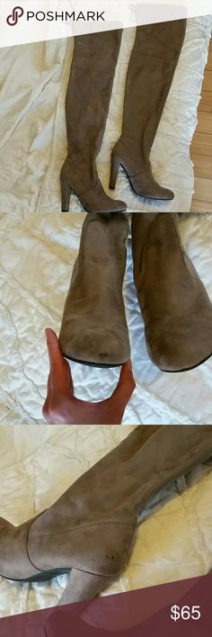 Steve Madden thigh high boots These are amazing, wore them twice. Pictures showing on the one shoe that has minor flaws. Color is taupe. Steve Madden Shoes Over the Knee Boots