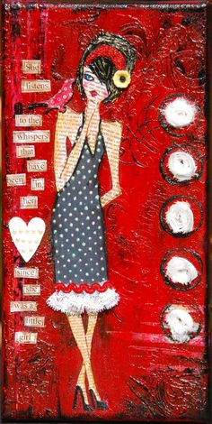 """Red"" Mixed media girl on canvas by Bette Brody 6x12 - SOLD"