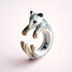 Porcelain Jewelry, Ceramic Jewelry, Fine Porcelain, Penelope, Animal Rings, Opossum, Hand Painted Ceramics, Ceramic Painting, Pet Gifts