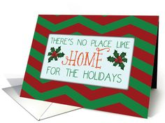 Wishing Merry Christmas from our your new home can be delightful with this brightly colored red and green chevron stripe card. There's no place like home, especially in your new home by Sandra Rose Designs