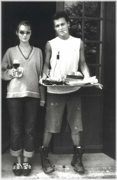 Moss & Depp. The hottest 90's couple.  You could wear this today. Sports chic and boyfriend jeans.