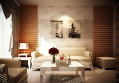 Interior Design, Wall Paper Wooden Panelling Brown Fur Carpet Tile Table Night Lamp Brown Roof Artistic Wooden Lounge Sofa Cups Bottle Rose Flower Coffee Table Painting Art Window And Curtain ~ Impressive Asian Modern Interior with Minimalist Touch and Furniture