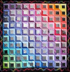 This quilt was created by Linda Hall with scraps from her stash. A favorite pattern. Bargello Quilts, 3d Quilts, Scrappy Quilts, Optical Illusion Quilts, Attic Window Quilts, Electric Quilt, Rainbow Quilt, Quilt Modernen, Art Textile