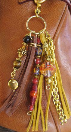 Purse Charm, Tassel, Zipper Pull, Key Chain - Gold, Yellow Amber & Brown Suede, Tiger's Eye, Indian Bali Lampwork