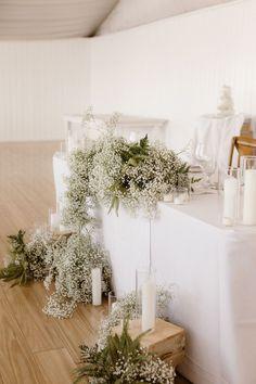Wedding Reception Design, Luxury Wedding Decor, Wedding Reception Flowers, White Wedding Flowers, Floral Wedding, All White Wedding, Wedding Receptions, Babys Breath Flowers, Babies Breath Wedding