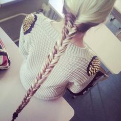 19 Fishtail Hairstyles for that hip look  Hairstyle Monkey Long Curly Hair, Long Hair Cuts, Curly Hair Styles, Date Hairstyles, Fishtail Hairstyles, Trendy Hairstyles, Studded Sweater, Long Braids, Tail Braids