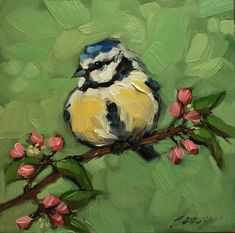 Blue Tit painting Original impressionistic oil by LaveryART
