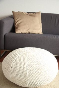 hand made crochet pouf any color but white! It would look filthy in 5 min. Decor Crafts, Diy Home Decor, Pouf Chair, Crochet Pouf, Foot Stools, Home Comforts, Floor Cushions, Crochet Projects, Knits