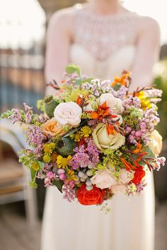 Absolutely beautiful and colourful Autumn inspired wedding bouquet. From 'Dahlia by Jenny Packham for a Beautiful Autumn Wedding' on www.lovemydress.net. Photography http://www.katylunsford.com/