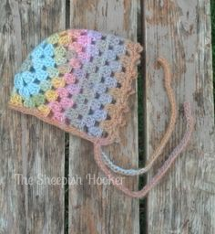 Granny Square Bonnet 03 months Ready to Ship by sheepishhooker, $22.00