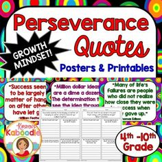 This Character Traits Quotes Posters product (perfect for growth mindset) focuses on PERSEVERANCE and includes 10 character traits quotes posters and 10 printables that correspond to each quote about perseverance.You can use this resource in a number of ways.-Display each character quote in the classroom as time allows and discuss one quote at a time.-Complete the printables during class, with partners or groups, or send it home for homework.