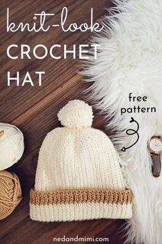Telling the difference between crochet and knit is easy right! This little hat might make you look twice :-) It's crochet with a very knit look. The pattern from Ned & Mimi is available in Toddler Child and Adult sizes. Crochet Hooks, Crochet Baby, Free Crochet, Knit Crochet, Crocheted Hats, Crochet Headbands, Afghan Crochet, Chunky Crochet, Tunisian Crochet