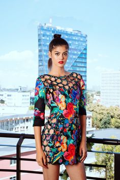 Product description : Happy Nation CollectionDigitally printed and lasercut dress. Fabric :Specially treated canvas for digital printing and laser cu