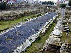 Remains of Roman road in the town of Tarsus,... -                                         Museum of artifacts