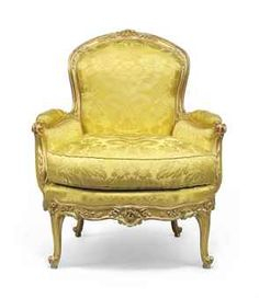 c. 1750 Louis XV Bergere; Wood molded, carved and gilded in three shades, floral decoration, stamped N. HEURTAUT, yellow silk cover