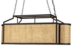 Natural Sophisticate rectangular chandelier. hand crafted of wrought iron and natural burlap/ jute diffuser. DesignNashville.com shipping world wide.