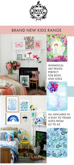 An eclectic mix of things we love - illustrator Paula Mills and textile artist Shelley Gardner for our label Sweet William