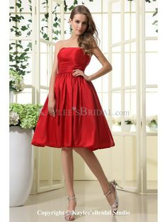 Taffeta Strapless Neckline Knee-Length A-line Bridesmaid Dress with Ruffle