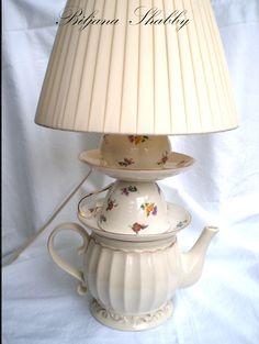 Gorgeous teapot / teacup lamp by Biljana Shabby. Cute in Jeana's craft room.