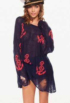 Black Anchor Dropped Shoulder Ripped Hem Sweater