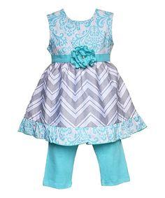 Look at this #zulilyfind! Aqua Chevron Hannah Tunic & Pants - Infant, Toddler & Girls #zulilyfinds