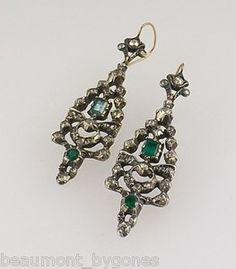 Georgian Long 1ct Emerald & 1ct Diamond Silver Earrings