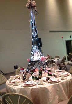 Amazing Christmas centerpiece, Paris inspired, Eiffel Tower, Angels, LED lighting, by Maureen deBruyn