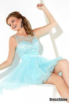 Fashion Scoop A Line Short Mini Tulle Beaded Homecoming Dresses - Homecoming   Cocktail   Party
